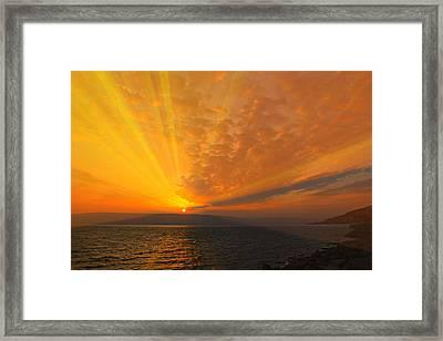 Sea Of Galilee Sunrise Framed Print by Stephen Stookey