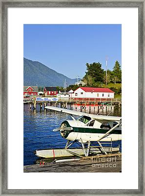 Sea Plane At Dock In Tofino Framed Print by Elena Elisseeva