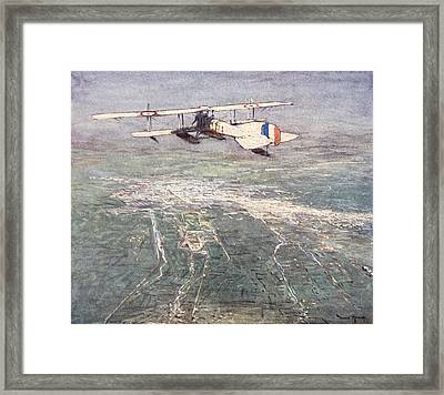 Sea-plane Flying Over Damascus Framed Print