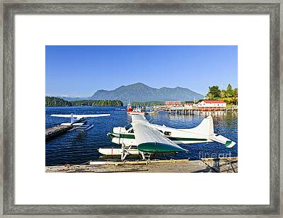 Sea Planes At Dock In Tofino Framed Print by Elena Elisseeva