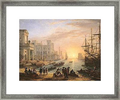 Sea Port At Sunset Framed Print by Claude Lorrain