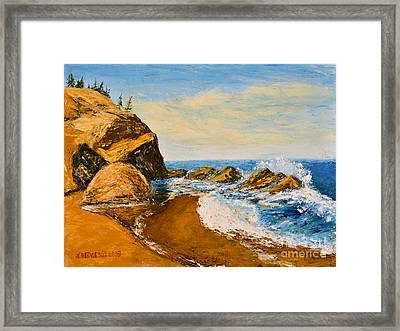 Sea Scape - Trees On Cliff Framed Print