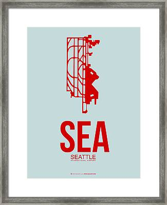 Sea Seattle Airport Poster 1 Framed Print by Naxart Studio