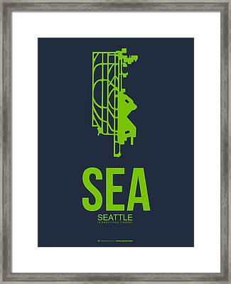Sea Seattle Airport Poster 2 Framed Print by Naxart Studio