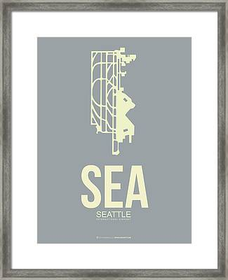 Sea Seattle Airport Poster 3 Framed Print by Naxart Studio