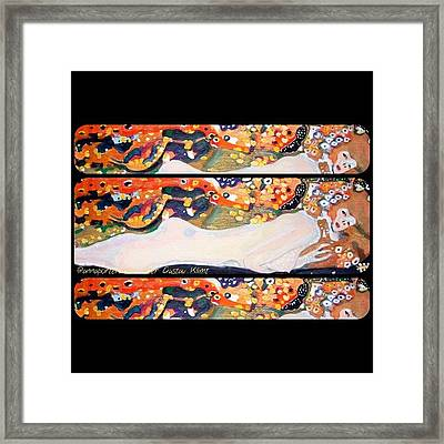 Sea Serpent IIi Tryptic After Gustav Klimt Framed Print