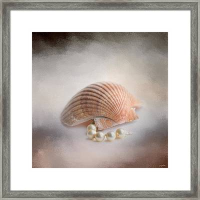 Sea Shell And Pearls Framed Print by Jai Johnson