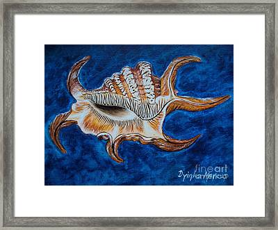 Sea Shell Original Painting Oil On Canvas No.3. Framed Print by Drinka Mercep
