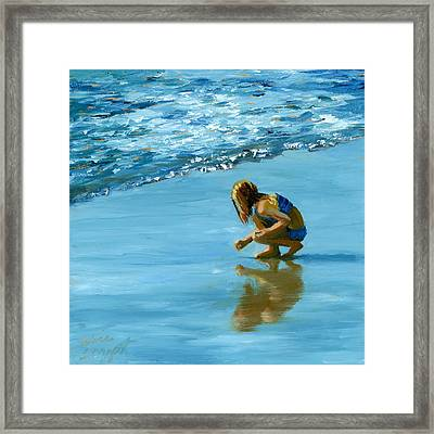 Sea Shell Seeker Framed Print by Alice Leggett