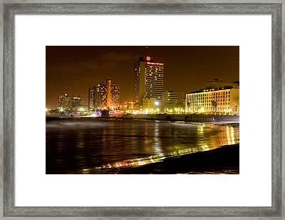 Sea Shore At Night Framed Print by Isaac Silman