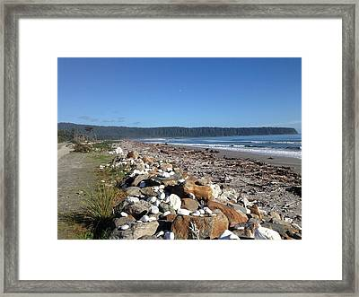 Sea Shore With Rocks Framed Print by Ron Torborg