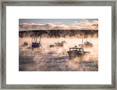 Sea Smoke And Lobster Boats Framed Print by Benjamin Williamson