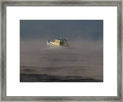 Sea Smoke Lobster Boat Framed Print
