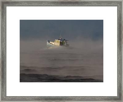 Sea Smoke Lobster Boat Framed Print