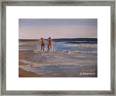 Sea Splashing On The Beach Framed Print