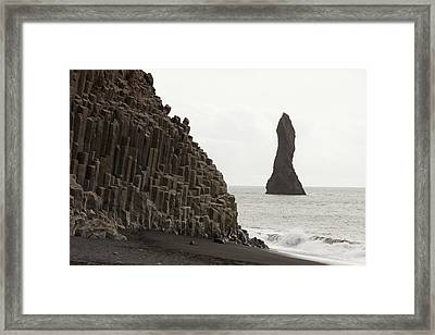 Sea Stack And Basalt Columns Framed Print by Ashley Cooper