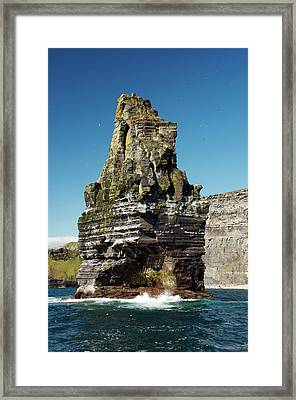 Sea Stack At The Cliffs Of Moher Framed Print by Sinclair Stammers