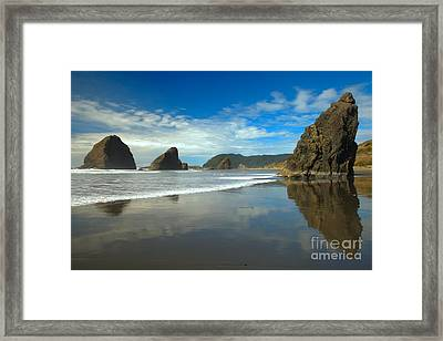 Sea Stacks In Blue Framed Print by Adam Jewell