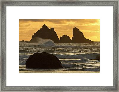 Sea Stacks On The Beach At Bandon Framed Print