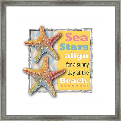Sea Stars Align For A Sunny Day At The Beach. Framed Print