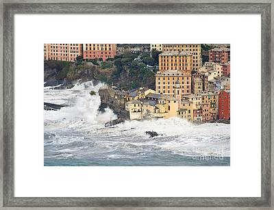 Framed Print featuring the photograph Sea Storm In Camogli - Italy by Antonio Scarpi
