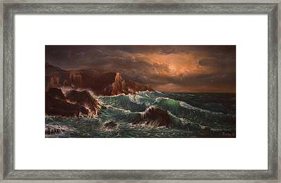 Sea Storm Framed Print by Radoslav Nedelchev
