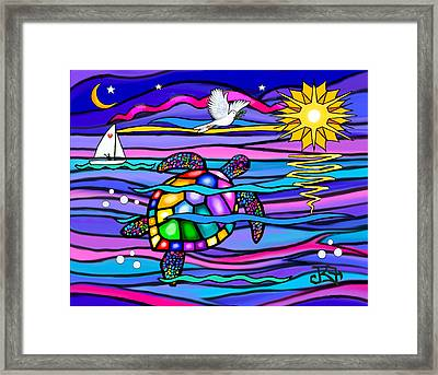 Framed Print featuring the digital art Sea Turle In Blue And Pink by Jean B Fitzgerald