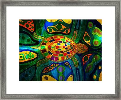 Sea Turtle - Abstract Ocean - Native Art Framed Print