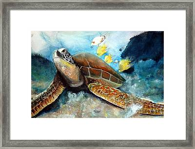 Framed Print featuring the painting Sea Turtle I by Bernadette Krupa