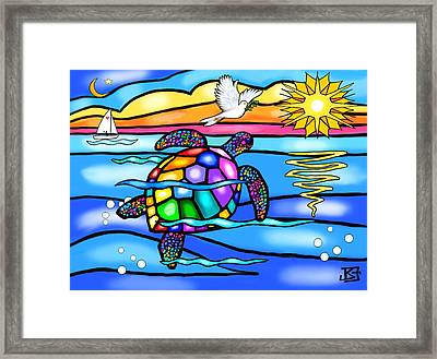 Framed Print featuring the digital art Sea Turtle In Turquoise And Blue by Jean B Fitzgerald