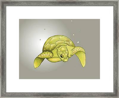 Sea Turtle Nursery Art - Yellow And Gray Framed Print