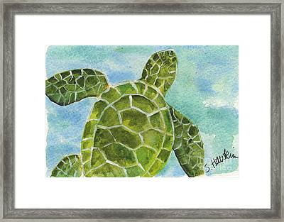 Sea Turtle Watercolor Framed Print
