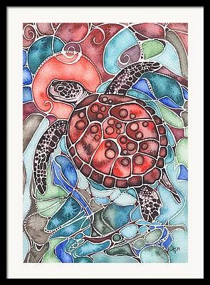 Hawaii Sea Turtle Paintings Framed Prints