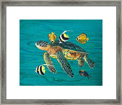 Sea Turtle With Fish Framed Print