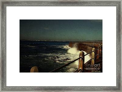 Sea Wall At Night Framed Print