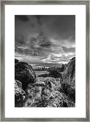 Sea Water Between Rocks Framed Print