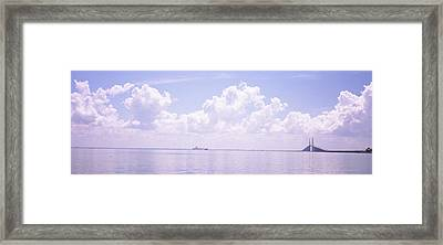 Sea With A Container Ship Framed Print