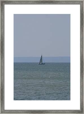 Sea Yacht  Land Sky Framed Print by Phoenix De Vries