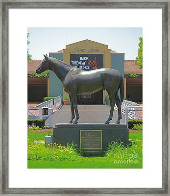 Seabiscuit Statue At Santa Anita Race Track  Framed Print