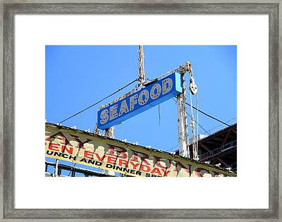 Seafood Sign Framed Print by Valentino Visentini
