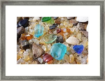 Seaglass Art Prints Agates Petrified Wood Framed Print