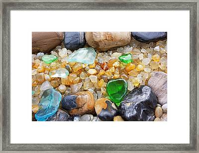 Seaglass Art Prints Coastal Beach Sea Glass Framed Print