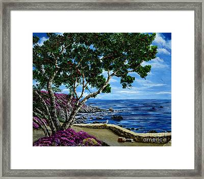 Seagull At Pacific Grove Overlook Framed Print by Laura Iverson