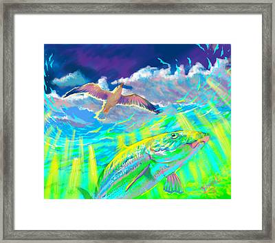 Seagull Over The Flats  Framed Print by Yusniel Santos