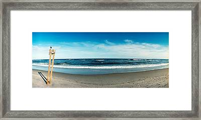 Seagull Standing On A Wooden Post Framed Print