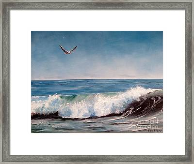 Seagull With Wave  Framed Print