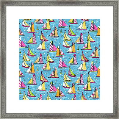 Seagulls And Sails Springtime Framed Print by Sharon Turner