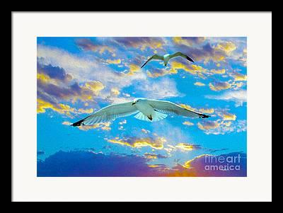Flying Seagulls Mixed Media Framed Prints