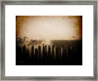 Seagulls Of Old Pilings Portland Maine Framed Print by Bob Orsillo