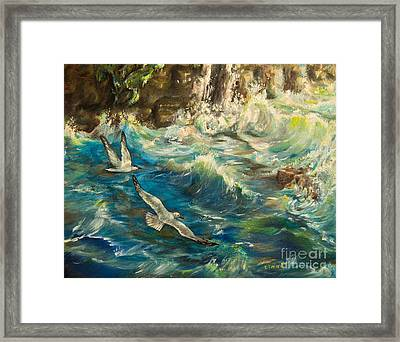 Seagulls Over The Rough Sea Framed Print by Zina Stromberg